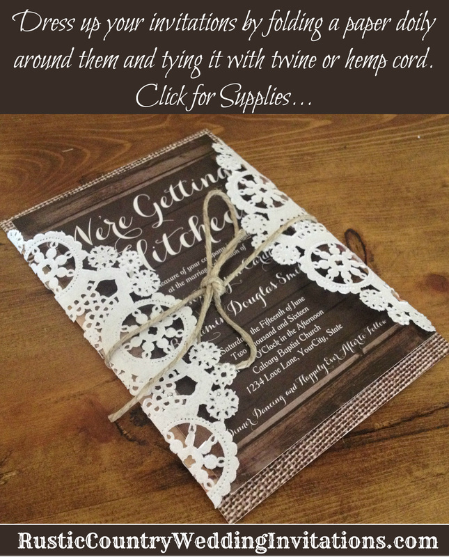dress up your rustic country wedding invitations by folding paper doilies around them and tying it - Country Rustic Wedding Invitations