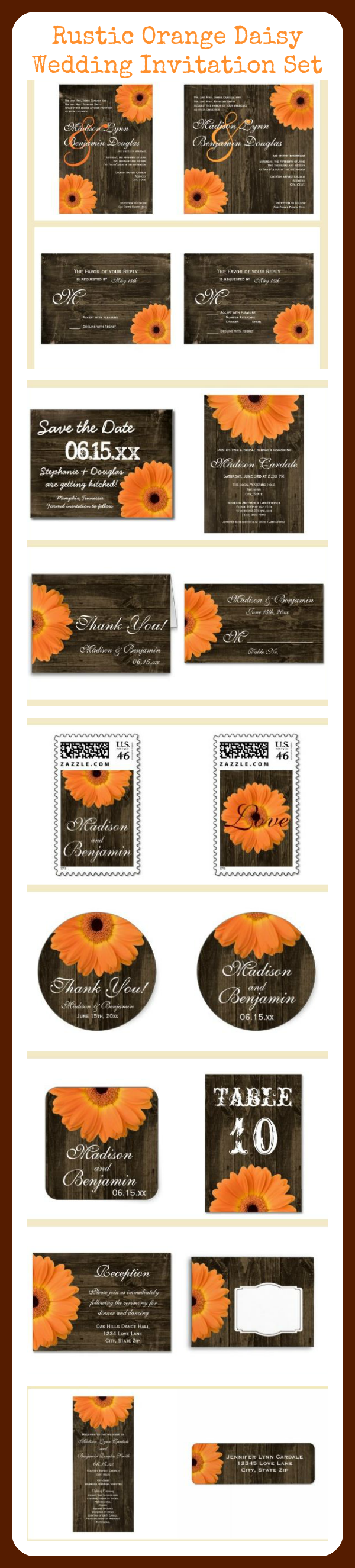 Orange Gerber Daisy Barn Wood Rustic Country Wedding Invitation Set